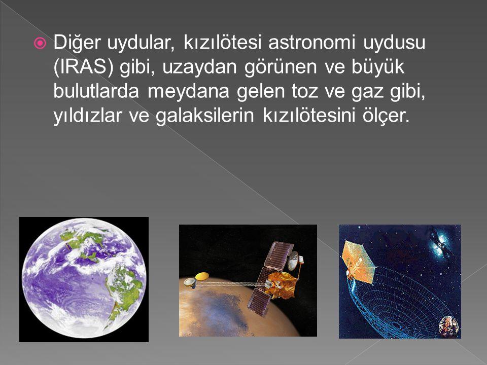  Diğer uydular, kızılötesi astronomi uydusu (IRAS) gibi, uzaydan görünen ve büyük bulutlarda meydana gelen toz ve gaz gibi, yıldızlar ve galaksilerin kızılötesini ölçer.