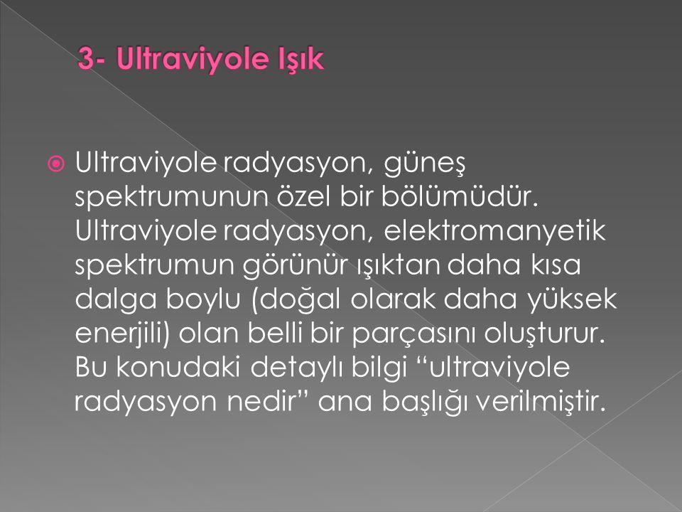  Ultraviyole radyasyon, güneş spektrumunun özel bir bölümüdür.