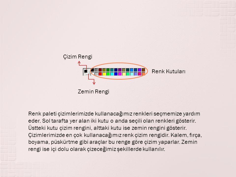 Çizim Rengi Zemin Rengi Renk Kutuları Renk paleti çizimlerimizde kullanacağımız renkleri seçmemize yardım eder. Sol tarafta yer alan iki kutu o anda s