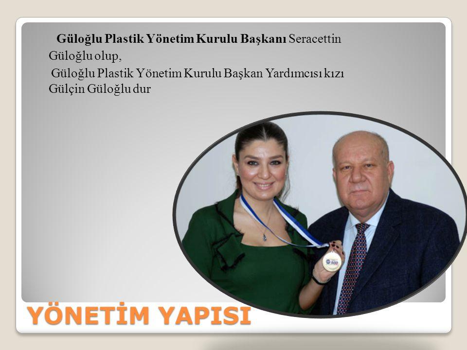 YÖNETİM YAPISI Güloğlu Plastik Yönetim Kurulu Başkanı Seracettin Güloğlu olup, Güloğlu Plastik Yönetim Kurulu Başkan Yardımcısı kızı Gülçin Güloğlu du