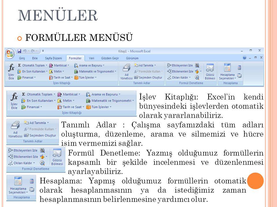 MENÜLER FORMÜLLER MENÜSÜ İşlev Kitaplığı: Excel'in kendi bünyesindeki işlevlerden otomatik olarak yararlanabiliriz. Tanımlı Adlar : Çalışma sayfamızda
