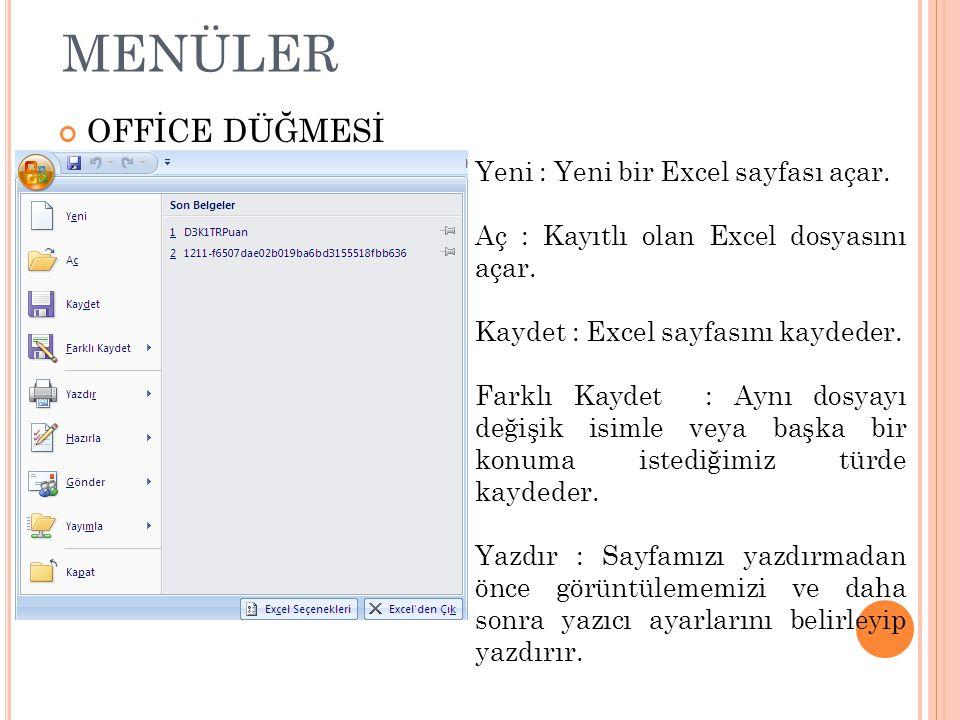 MENÜLER OFFİCE DÜĞMESİ Yeni : Yeni bir Excel sayfası açar. Aç : Kayıtlı olan Excel dosyasını açar. Kaydet : Excel sayfasını kaydeder. Farklı Kaydet :