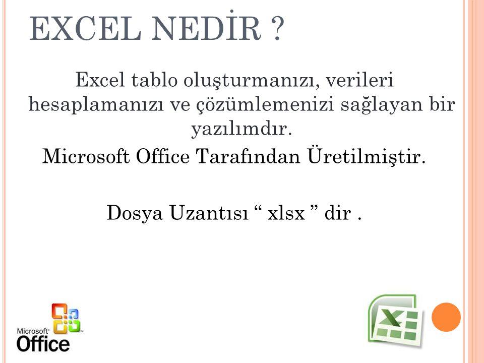 EXCEL NEDİR ? Excel tablo oluşturmanızı, verileri hesaplamanızı ve çözümlemenizi sağlayan bir yazılımdır. Microsoft Office Tarafından Üretilmiştir. Do