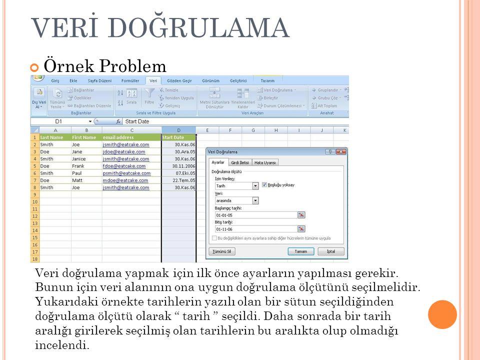 VERİ DOĞRULAMA Örnek Problem Veri doğrulama yapmak için ilk önce ayarların yapılması gerekir. Bunun için veri alanının ona uygun doğrulama ölçütünü se