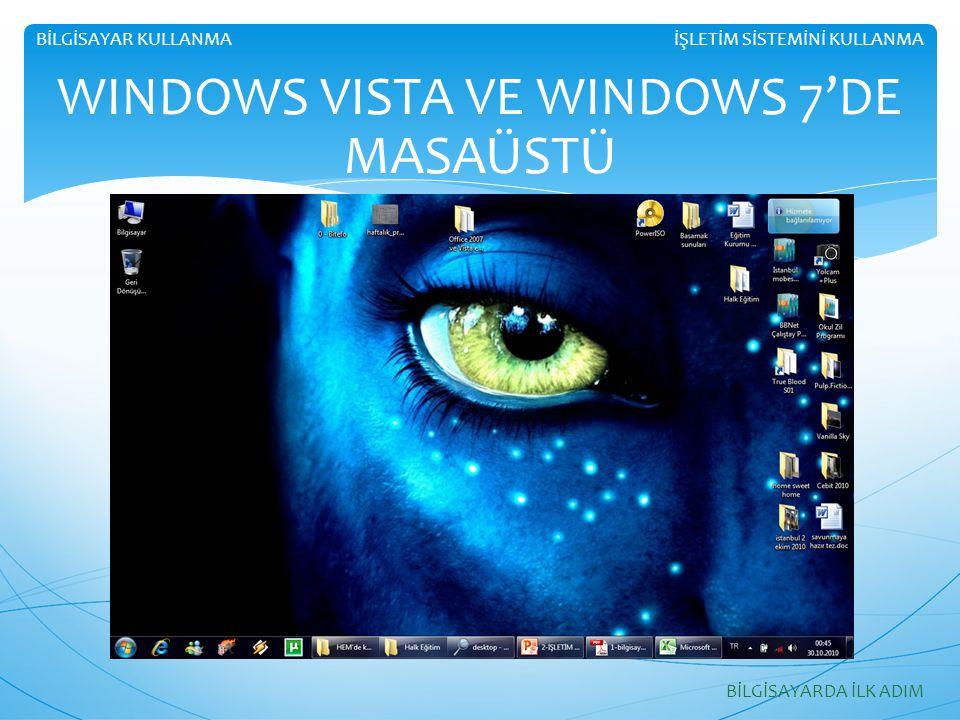 İŞLETİM SİSTEMİNİ KULLANMABİLGİSAYAR KULLANMA BİLGİSAYARDA İLK ADIM WINDOWS VISTA VE WINDOWS 7'DE MASAÜSTÜ