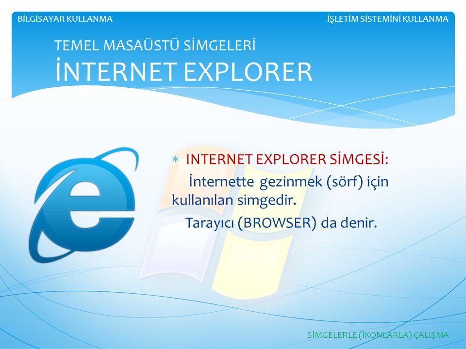 İŞLETİM SİSTEMİNİ KULLANMABİLGİSAYAR KULLANMA TEMEL MASAÜSTÜ SİMGELERİ İNTERNET EXPLORER  INTERNET EXPLORER SİMGESİ: İnternette gezinmek (sörf) için
