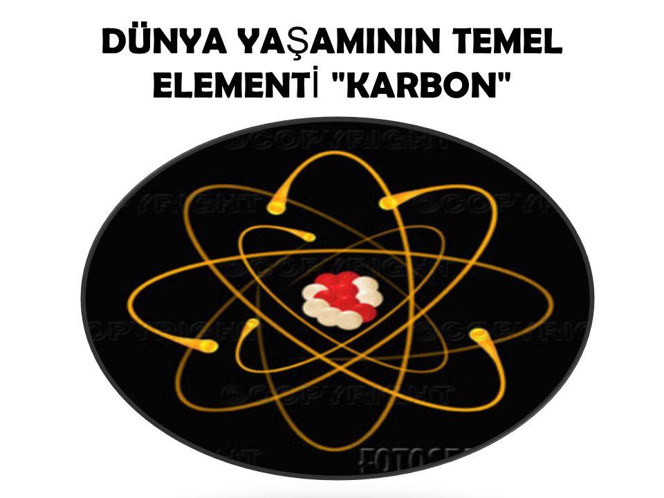 Karbonun Kimlik Kartı  Sembolü: C  Atom Numarası: 6  Sınıfı: Ametal  Rengi: Grafit siyahtır, elmas ise renksizdir.
