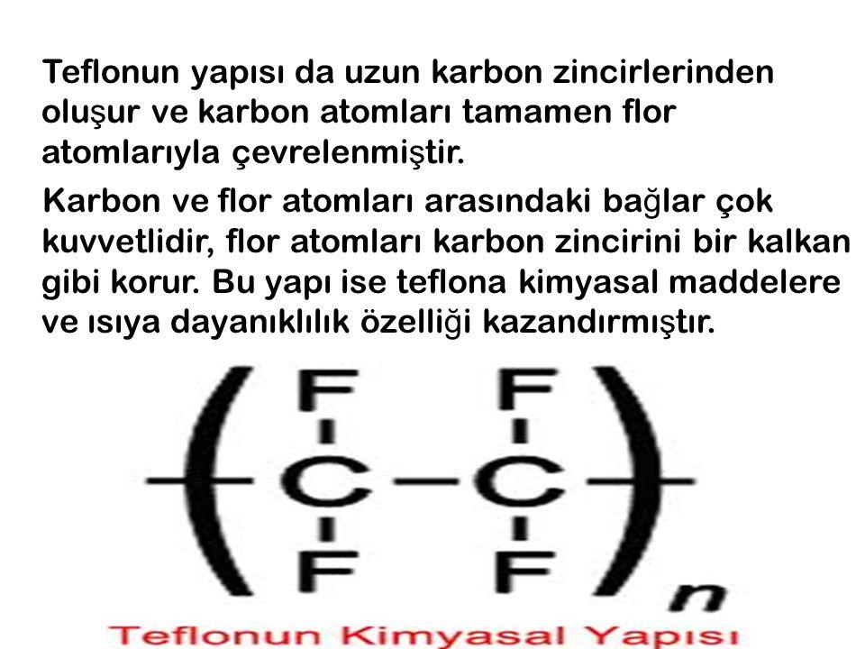 Teflonun yapısı da uzun karbon zincirlerinden olu ş ur ve karbon atomları tamamen flor atomlarıyla çevrelenmi ş tir. Karbon ve flor atomları arasındak
