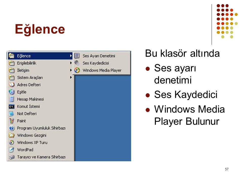 Eğlence Bu klasör altında  Ses ayarı denetimi  Ses Kaydedici  Windows Media Player Bulunur 57
