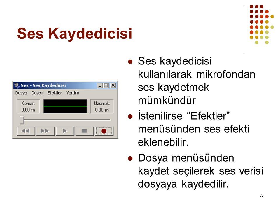 Ses Kaydedicisi  Ses kaydedicisi kullanılarak mikrofondan ses kaydetmek mümkündür  İstenilirse Efektler menüsünden ses efekti eklenebilir.