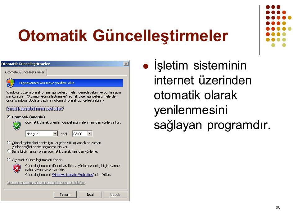 Otomatik Güncelleştirmeler  İşletim sisteminin internet üzerinden otomatik olarak yenilenmesini sağlayan programdır.