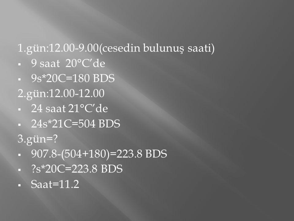 1.gün:12.00-9.00(cesedin bulunuş saati)  9 saat 20°C'de  9s*20C=180 BDS 2.gün:12.00-12.00  24 saat 21°C'de  24s*21C=504 BDS 3.gün=?  907.8-(504+1