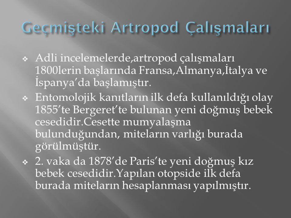  Adli incelemelerde,artropod çalışmaları 1800lerin başlarında Fransa,Almanya,İtalya ve İspanya'da başlamıştır.  Entomolojik kanıtların ilk defa kull