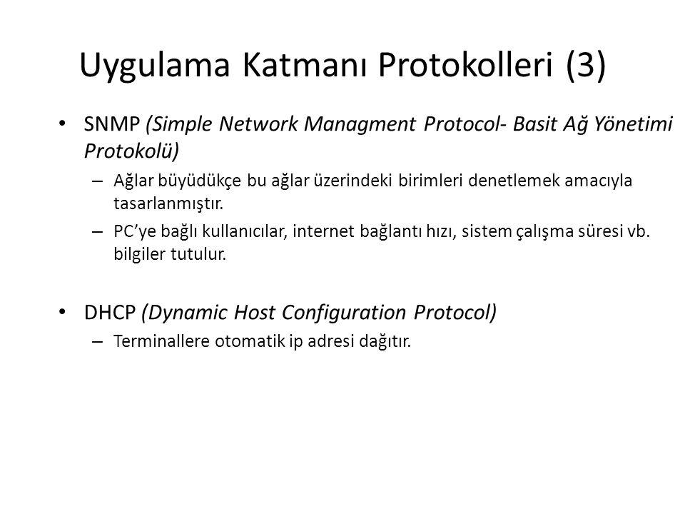 Uygulama Katmanı Protokolleri (3) • SNMP (Simple Network Managment Protocol- Basit Ağ Yönetimi Protokolü) – Ağlar büyüdükçe bu ağlar üzerindeki birimleri denetlemek amacıyla tasarlanmıştır.