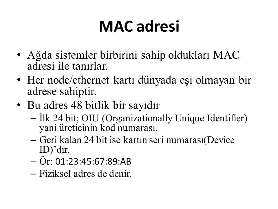 MAC adresi • Ağda sistemler birbirini sahip oldukları MAC adresi ile tanırlar.
