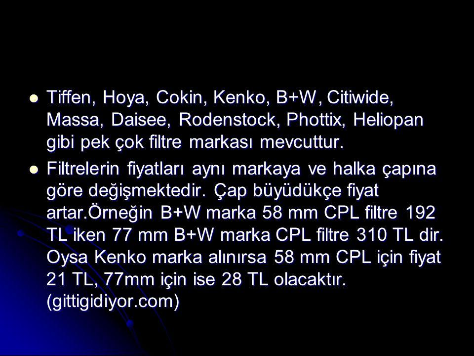  Tiffen, Hoya, Cokin, Kenko, B+W, Citiwide, Massa, Daisee, Rodenstock, Phottix, Heliopan gibi pek çok filtre markası mevcuttur.  Filtrelerin fiyatla