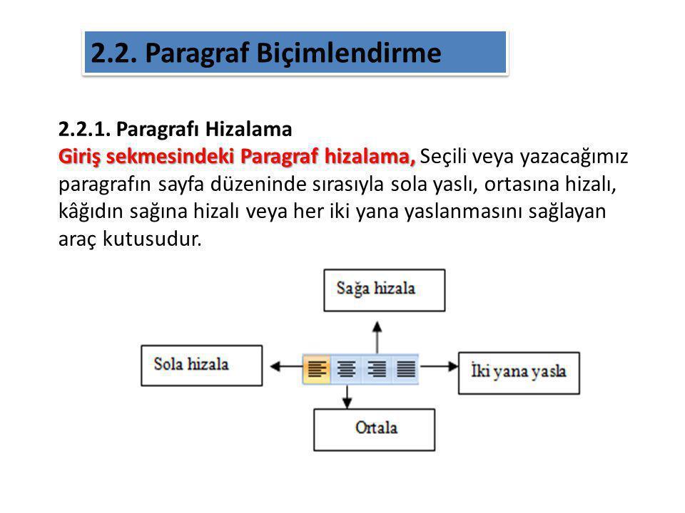 2.2.1. Paragrafı Hizalama Giriş sekmesindeki Paragraf hizalama, Giriş sekmesindeki Paragraf hizalama, Seçili veya yazacağımız paragrafın sayfa düzenin