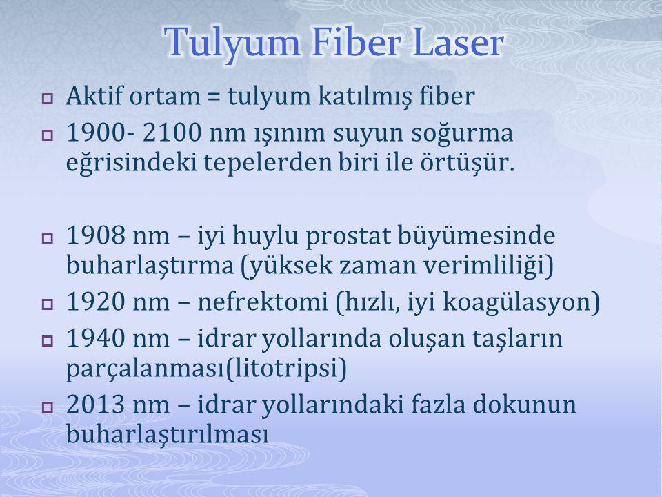  Aktif ortam = tulyum katılmış fiber  1900- 2100 nm ışınım suyun soğurma eğrisindeki tepelerden biri ile örtüşür.  1908 nm – iyi huylu prostat büyü