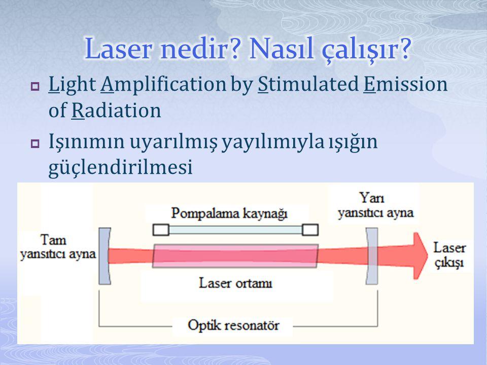  Light Amplification by Stimulated Emission of Radiation  Işınımın uyarılmış yayılımıyla ışığın güçlendirilmesi