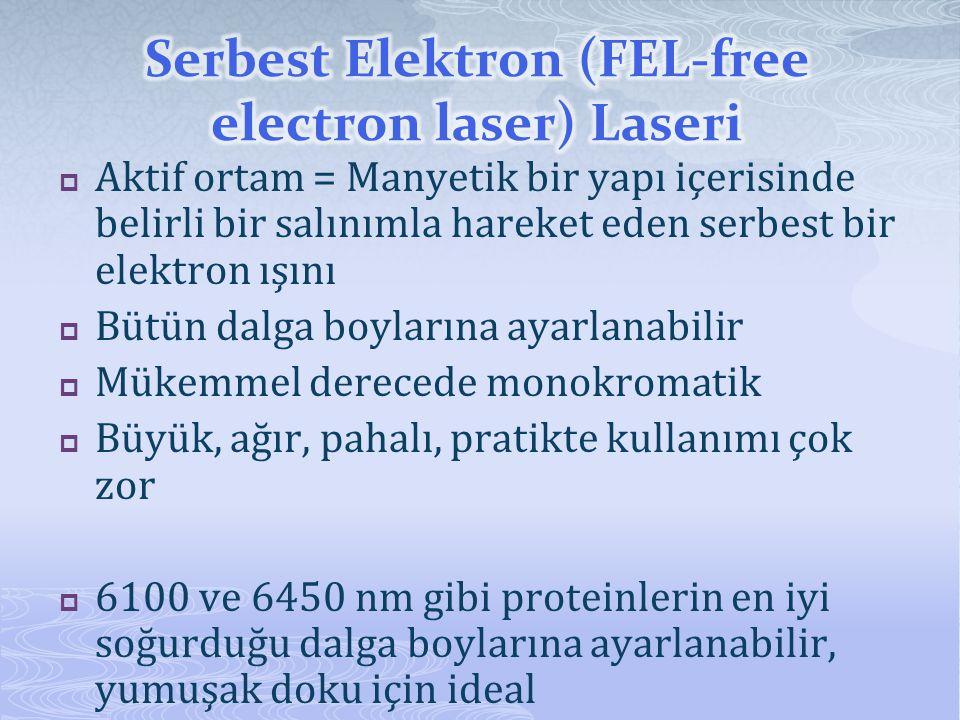  Aktif ortam = Manyetik bir yapı içerisinde belirli bir salınımla hareket eden serbest bir elektron ışını  Bütün dalga boylarına ayarlanabilir  Mük