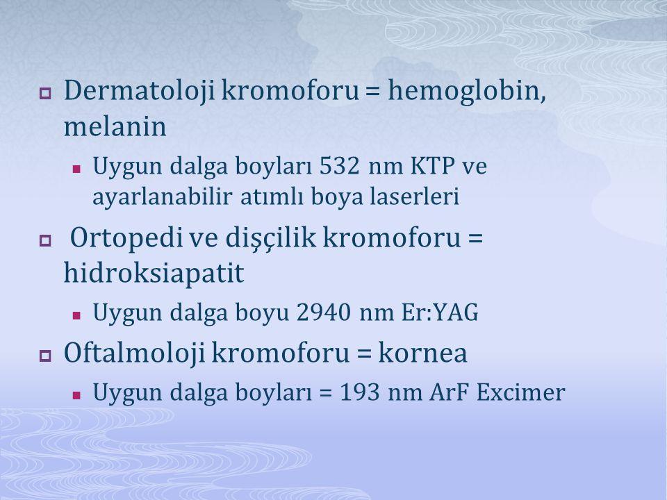  Dermatoloji kromoforu = hemoglobin, melanin  Uygun dalga boyları 532 nm KTP ve ayarlanabilir atımlı boya laserleri  Ortopedi ve dişçilik kromoforu