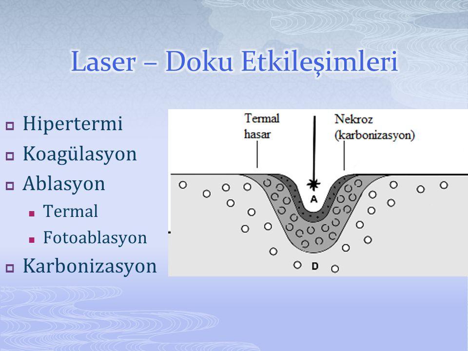  Hipertermi  Koagülasyon  Ablasyon  Termal  Fotoablasyon  Karbonizasyon