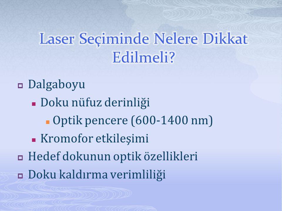  Dalgaboyu  Doku nüfuz derinliği  Optik pencere (600-1400 nm)  Kromofor etkileşimi  Hedef dokunun optik özellikleri  Doku kaldırma verimliliği