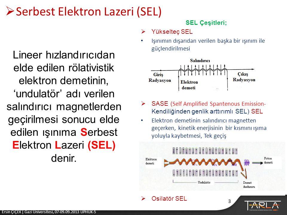  Serbest Elektron Lazeri (SEL) Lineer hızlandırıcıdan elde edilen rölativistik elektron demetinin, 'undulatör' adı verilen salındırıcı magnetlerden geçirilmesi sonucu elde edilen ışınıma Serbest Elektron Lazeri (SEL) denir.