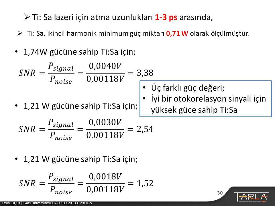  Ti: Sa lazeri için atma uzunlukları 1-3 ps arasında,  Ti: Sa, ikincil harmonik minimum güç miktarı 0,71 W olarak ölçülmüştür.