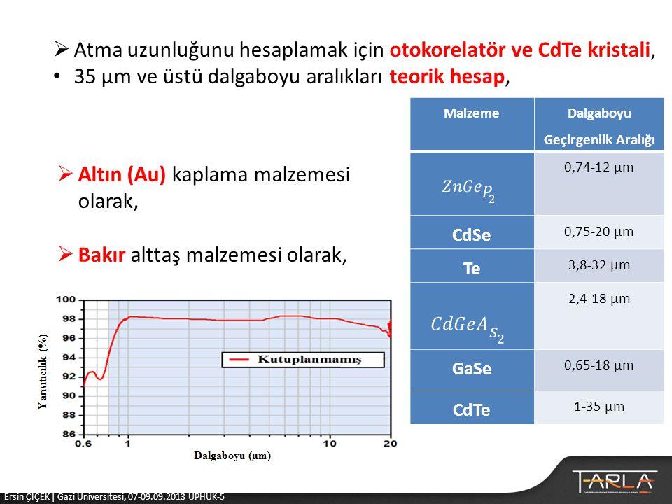Malzeme Dalgaboyu Geçirgenlik Aralığı 0,74-12 µm CdSe 0,75-20 µm Te 3,8-32 µm 2,4-18 µm GaSe 0,65-18 µm CdTe 1-35 µm  Atma uzunluğunu hesaplamak için otokorelatör ve CdTe kristali, • 35 µm ve üstü dalgaboyu aralıkları teorik hesap,  Altın (Au) kaplama malzemesi olarak,  Bakır alttaş malzemesi olarak, Ersin ÇİÇEK | Gazi Üniversitesi, 07-09.09.2013 UPHUK-5