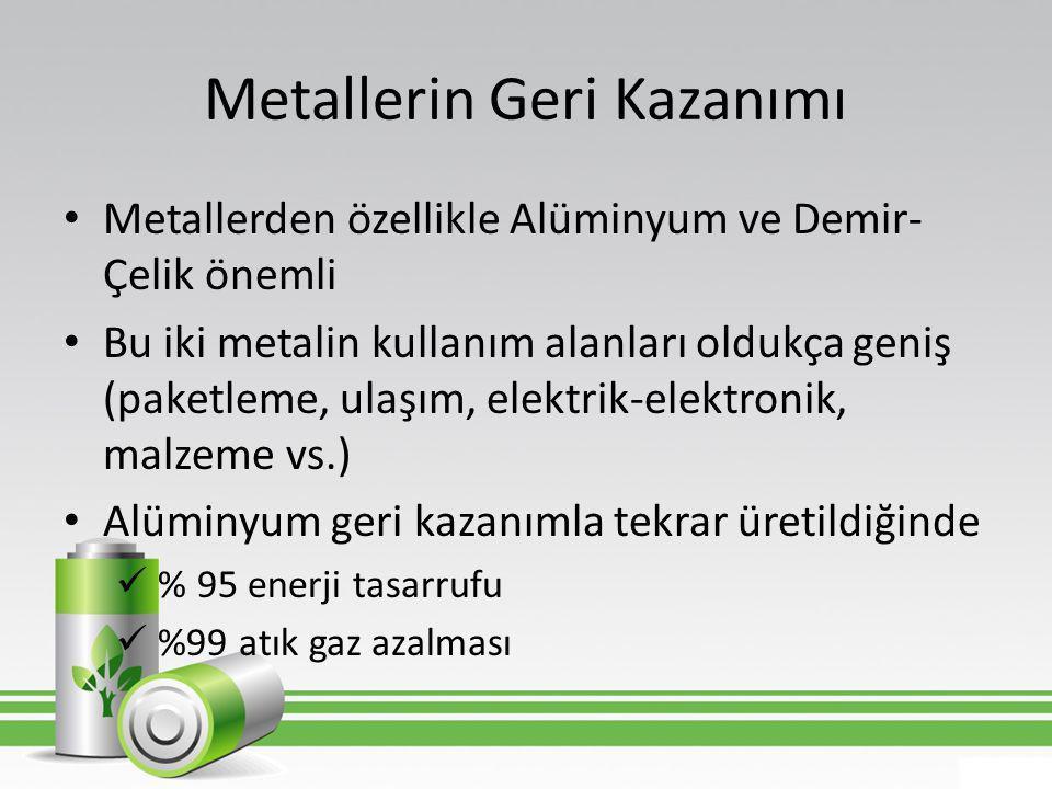 Metallerin Geri Kazanımı • Metallerden özellikle Alüminyum ve Demir- Çelik önemli • Bu iki metalin kullanım alanları oldukça geniş (paketleme, ulaşım,