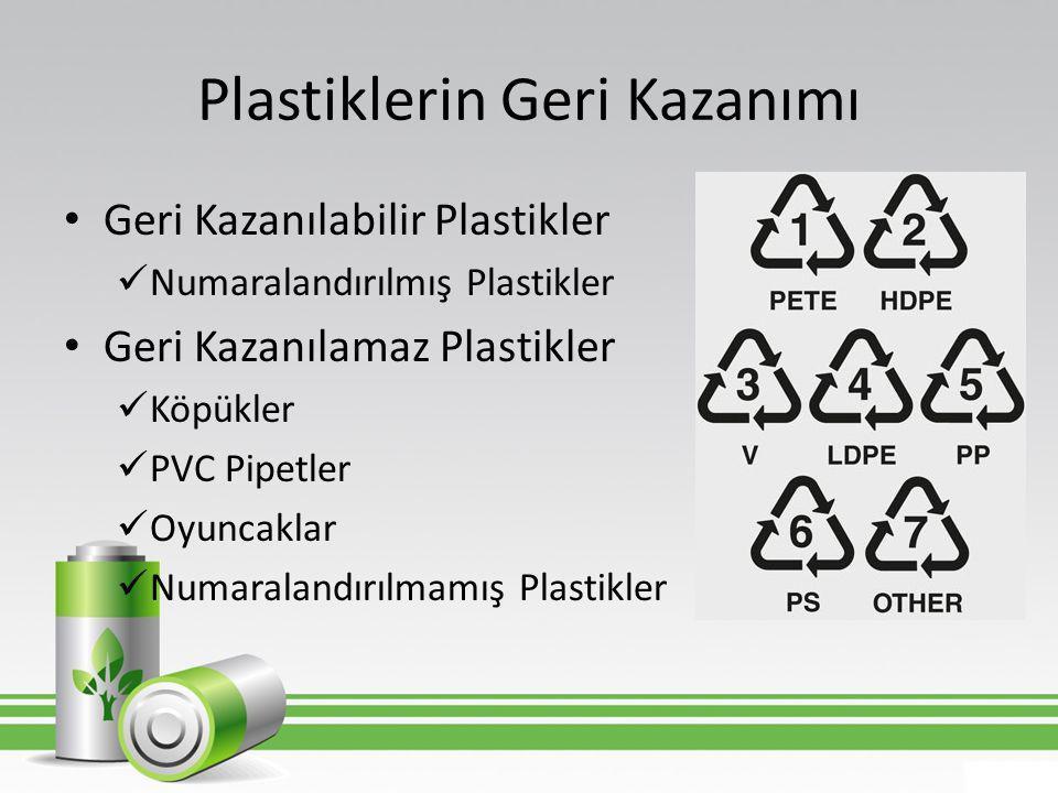 Plastiklerin Geri Kazanımı • Geri Kazanılabilir Plastikler  Numaralandırılmış Plastikler • Geri Kazanılamaz Plastikler  Köpükler  PVC Pipetler  Oy