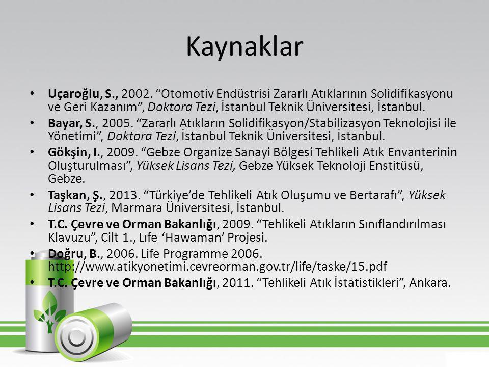 """Kaynaklar • Uçaroğlu, S., 2002. """"Otomotiv Endüstrisi Zararlı Atıklarının Solidifikasyonu ve Geri Kazanım"""", Doktora Tezi, İstanbul Teknik Üniversitesi,"""