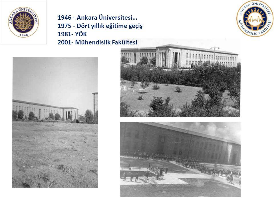 1946 - Ankara Üniversitesi… 1975 - Dört yıllık eğitime geçiş 1981- YÖK 2001- Mühendislik Fakültesi