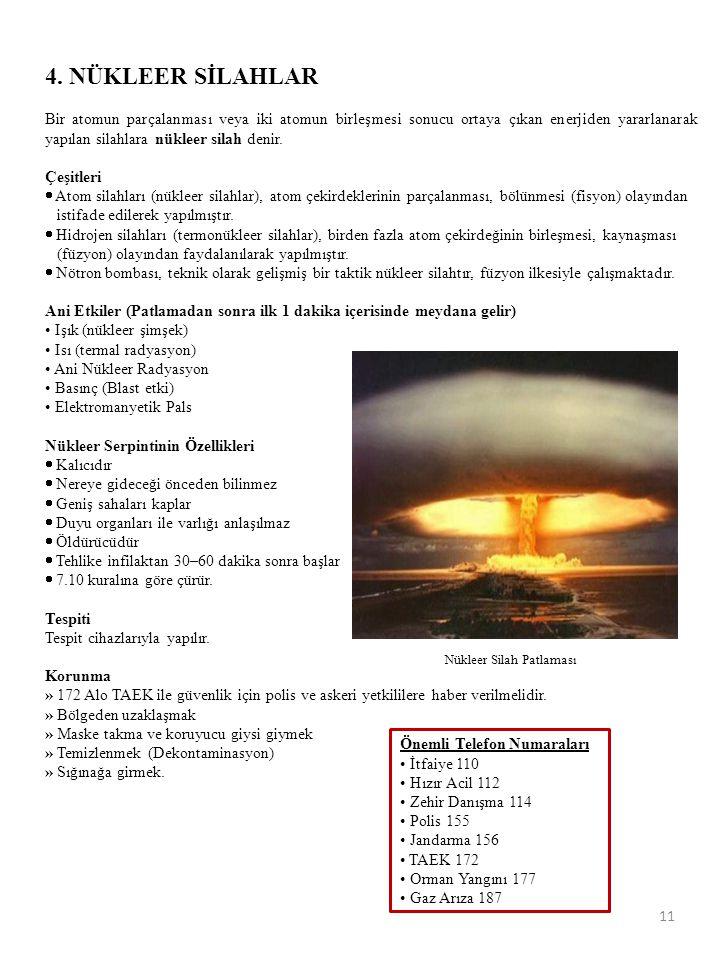 11 4. NÜKLEER SİLAHLAR Bir atomun parçalanması veya iki atomun birleşmesi sonucu ortaya çıkan enerjiden yararlanarak yapılan silahlara nükleer silah d