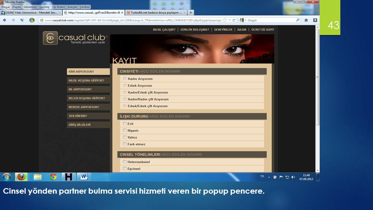 43 Cinsel yönden partner bulma servisi hizmeti veren bir popup pencere.