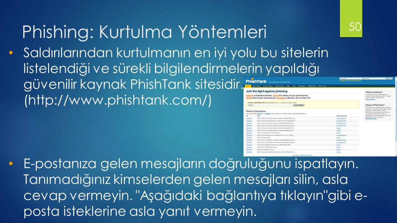 Phishing: Kurtulma Yöntemleri 50 • Saldırılarından kurtulmanın en iyi yolu bu sitelerin listelendiği ve sürekli bilgilendirmelerin yapıldığı güvenilir kaynak PhishTank sitesidir.