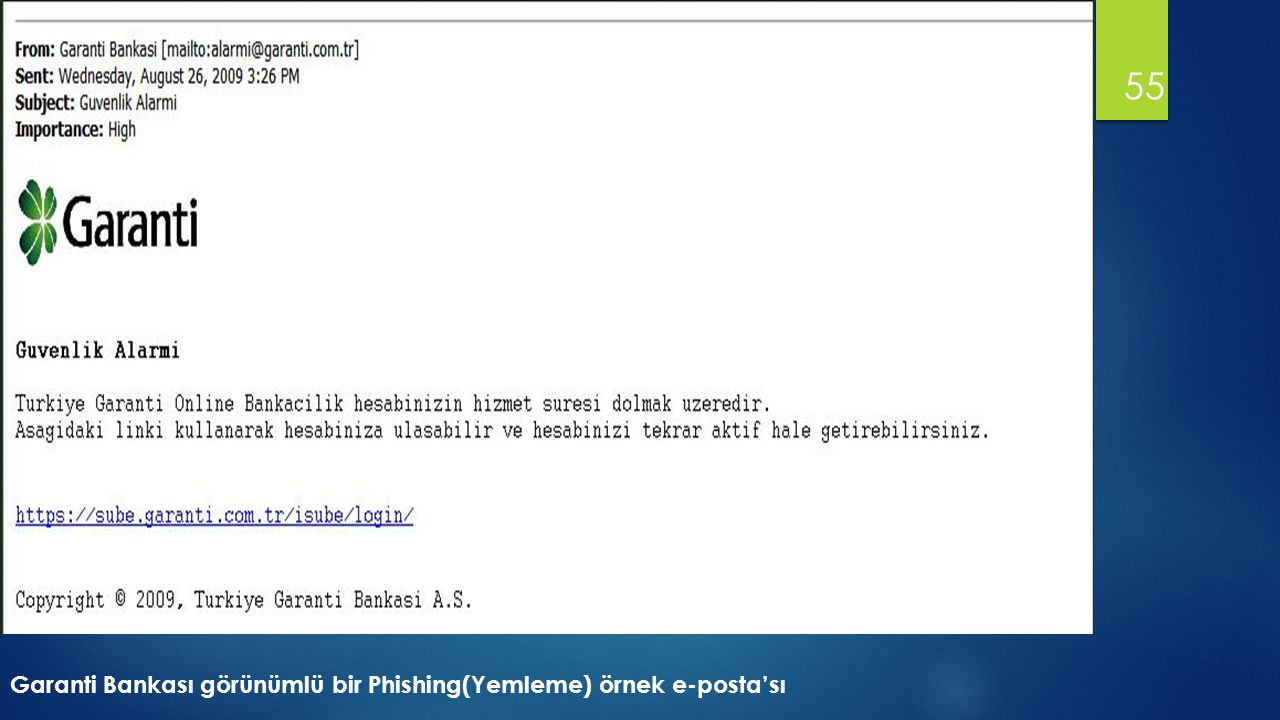 55 Garanti Bankası görünümlü bir Phishing(Yemleme) örnek e-posta'sı