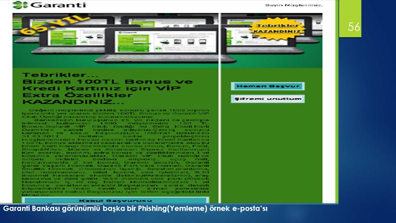 56 Garanti Bankası görünümlü başka bir Phishing(Yemleme) örnek e-posta'sı