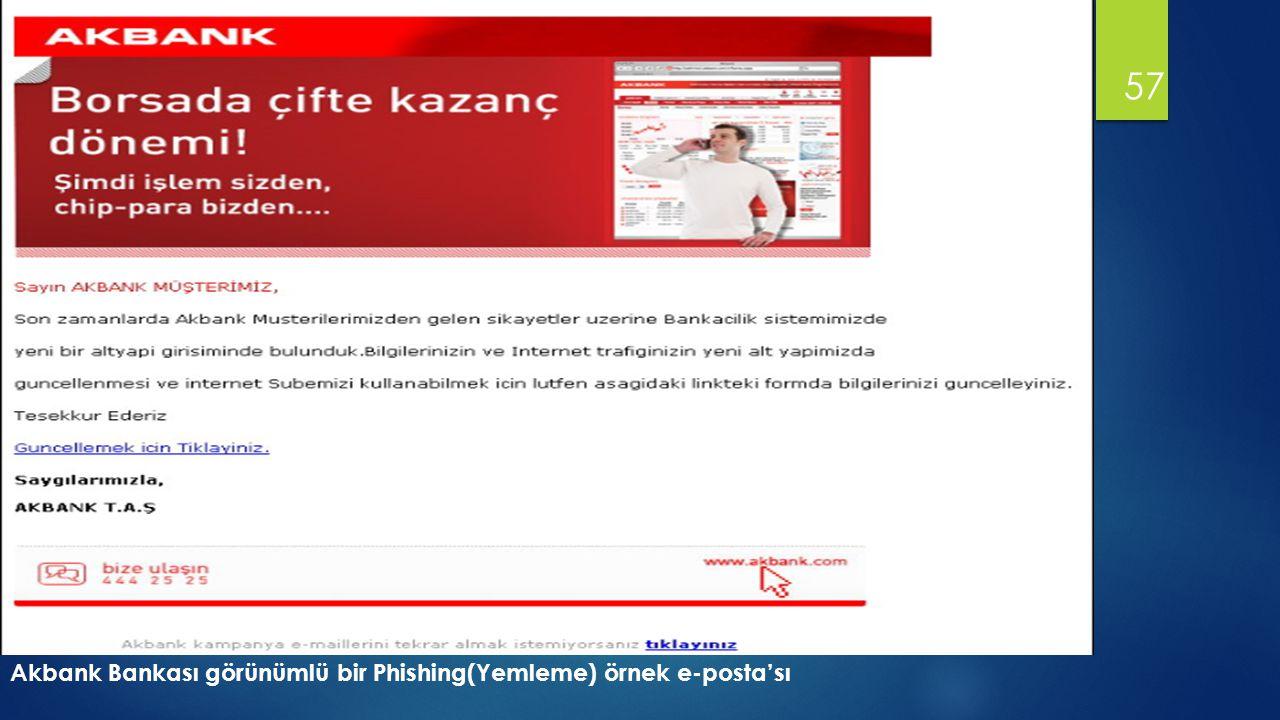 57 Akbank Bankası görünümlü bir Phishing(Yemleme) örnek e-posta'sı