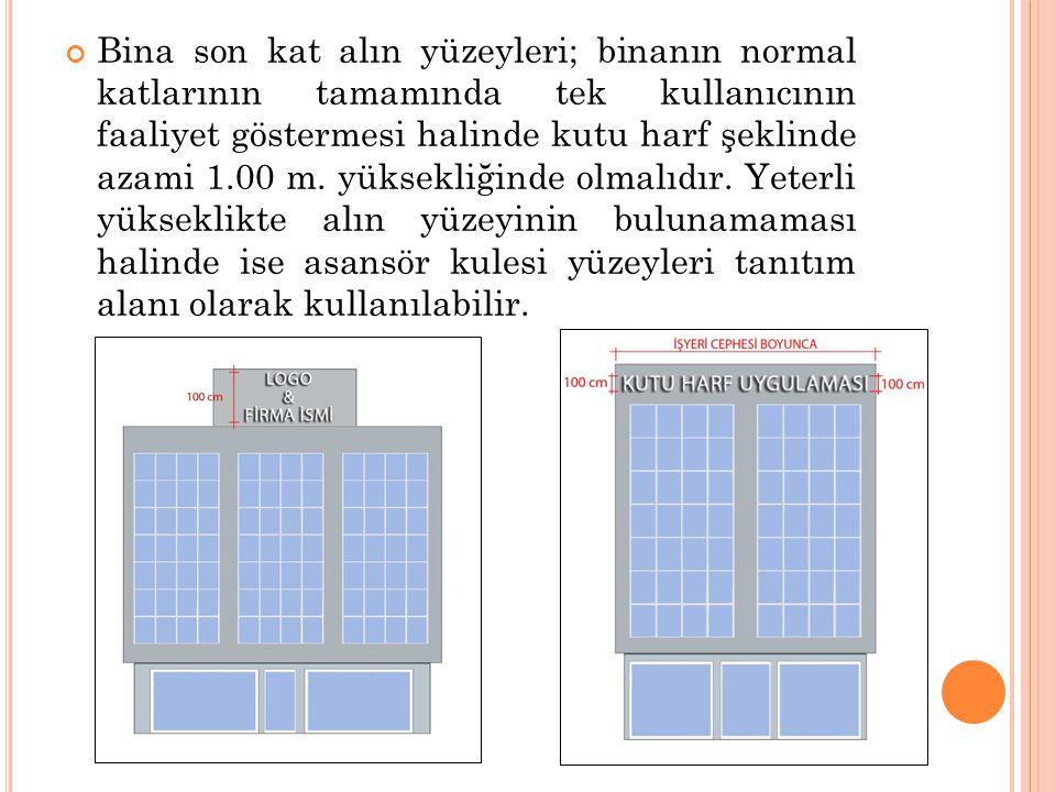 Bina son kat alın yüzeyleri; binanın normal katlarının tamamında tek kullanıcının faaliyet göstermesi halinde kutu harf şeklinde azami 1.00 m. yüksekl