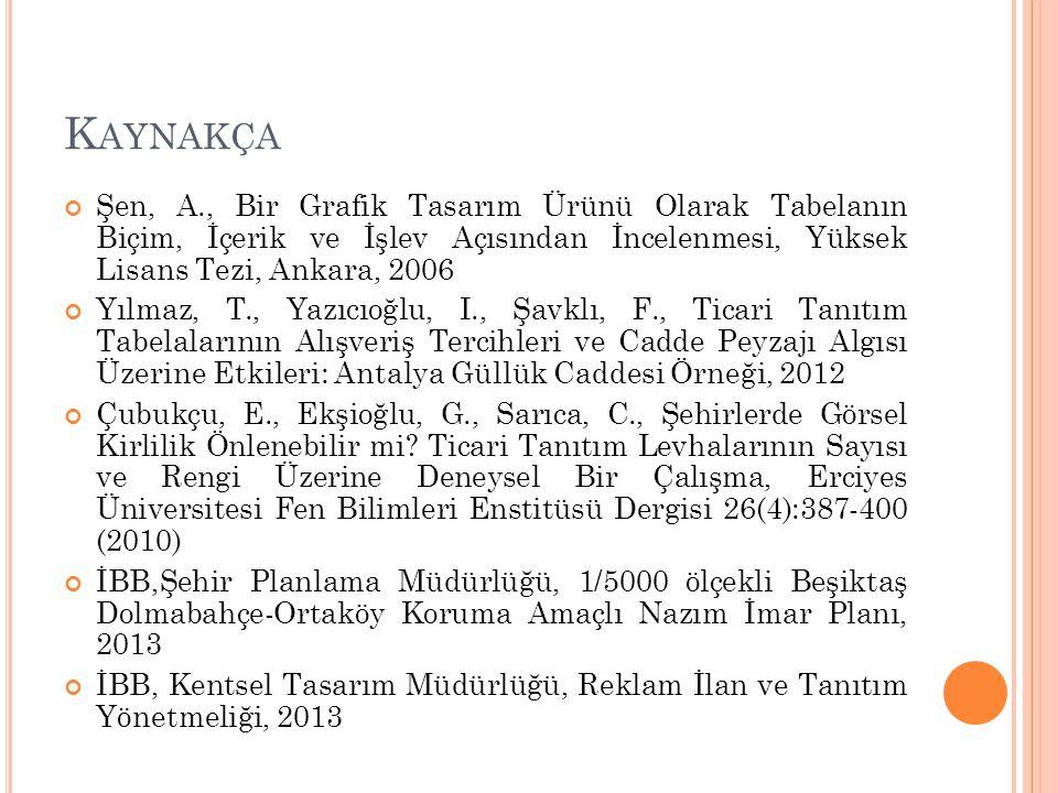 K AYNAKÇA Şen, A., Bir Grafik Tasarım Ürünü Olarak Tabelanın Biçim, İçerik ve İşlev Açısından İncelenmesi, Yüksek Lisans Tezi, Ankara, 2006 Yılmaz, T.