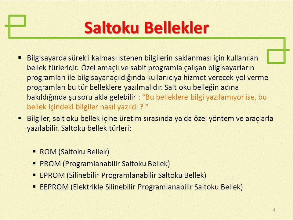 Saltoku Bellekler 5 • PROM (Programlanabilir Saltoku Bellek) : Üretildikleri an bütün gözeleri (en küçük bellek birimi ) 0 veya 1 ile yüklü belleklerdir.