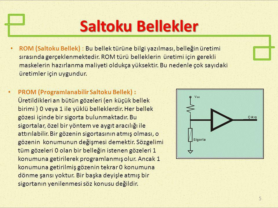 Saltoku Bellekler 5 • PROM (Programlanabilir Saltoku Bellek) : Üretildikleri an bütün gözeleri (en küçük bellek birimi ) 0 veya 1 ile yüklü belleklerd