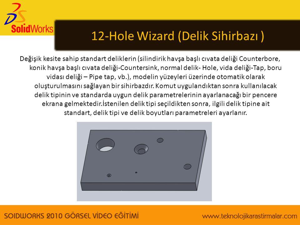 12-Hole Wizard (Delik Sihirbazı ) Değişik kesite sahip standart deliklerin (silindirik havşa başlı cıvata deliği Counterbore, konik havşa başlı cıvata