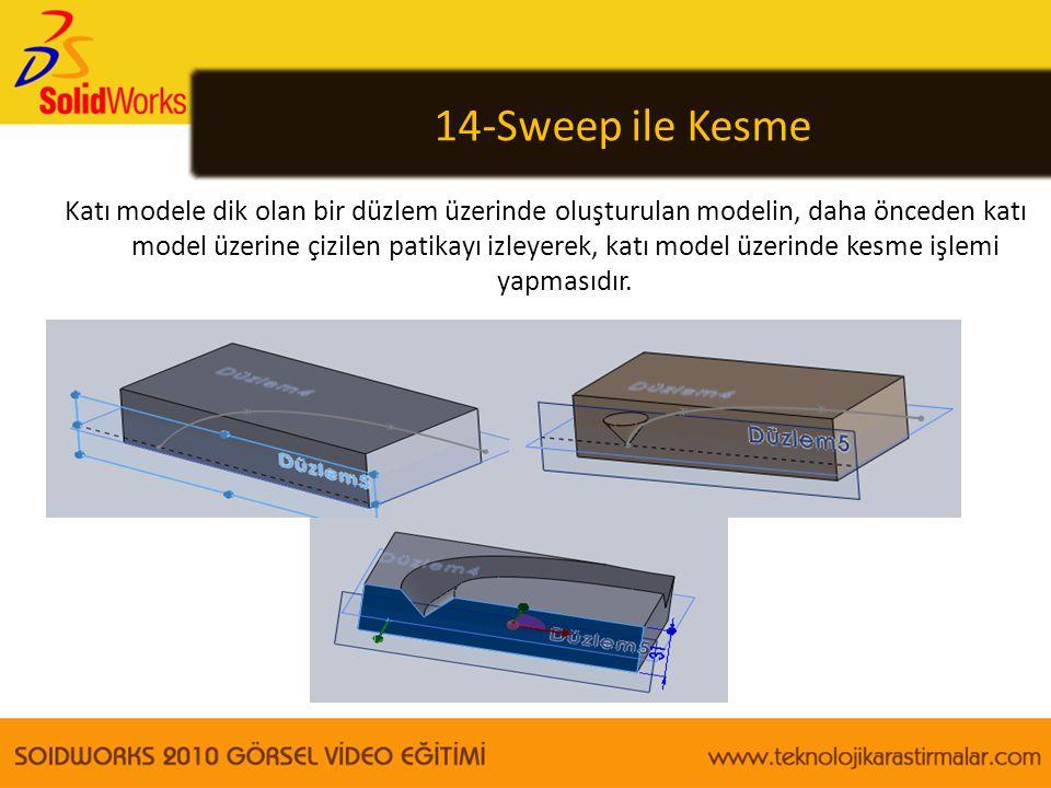 14-Sweep ile Kesme Katı modele dik olan bir düzlem üzerinde oluşturulan modelin, daha önceden katı model üzerine çizilen patikayı izleyerek, katı mode