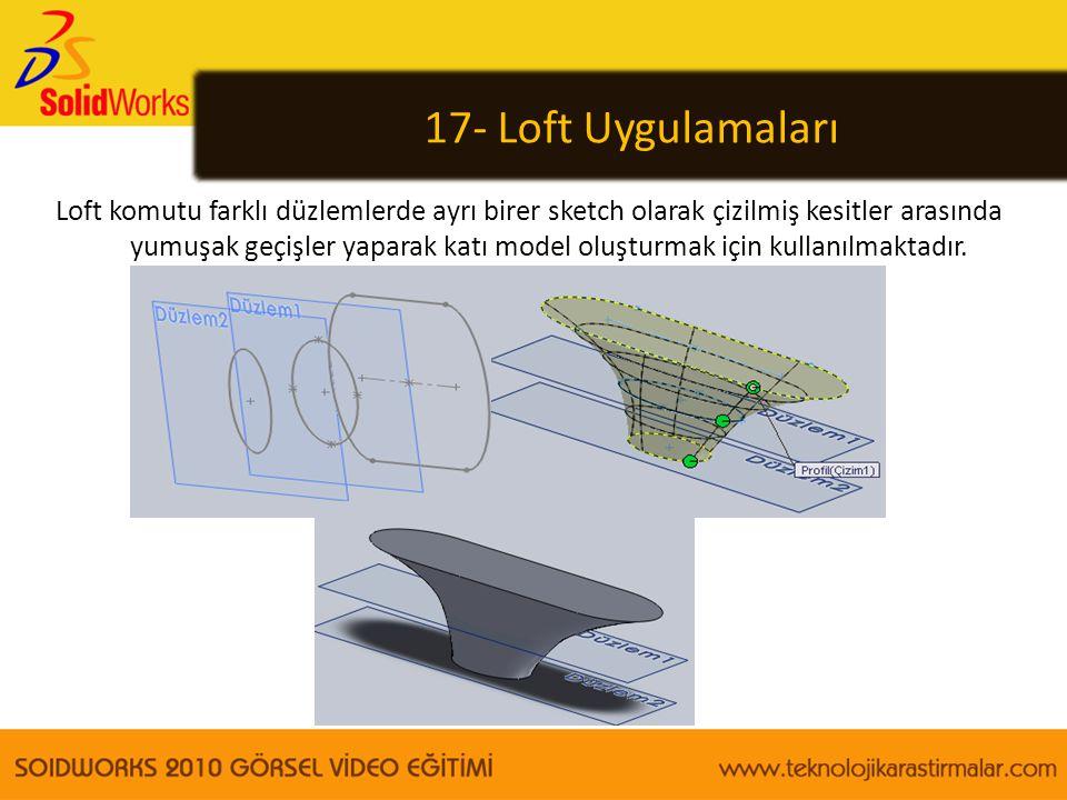17- Loft Uygulamaları Loft komutu farklı düzlemlerde ayrı birer sketch olarak çizilmiş kesitler arasında yumuşak geçişler yaparak katı model oluşturma