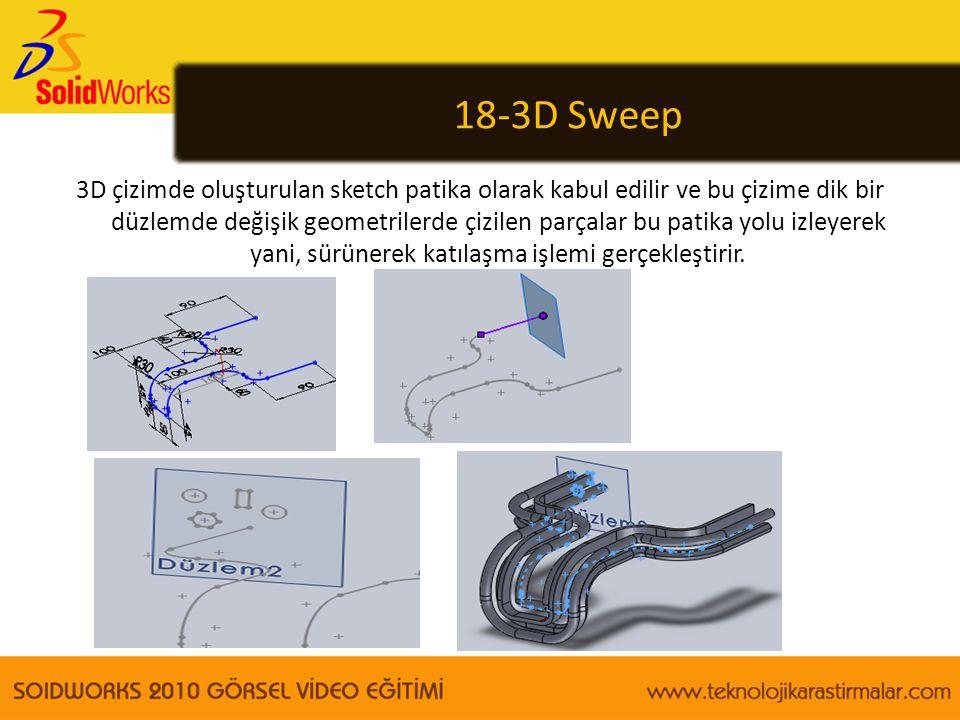 18-3D Sweep 3D çizimde oluşturulan sketch patika olarak kabul edilir ve bu çizime dik bir düzlemde değişik geometrilerde çizilen parçalar bu patika yo