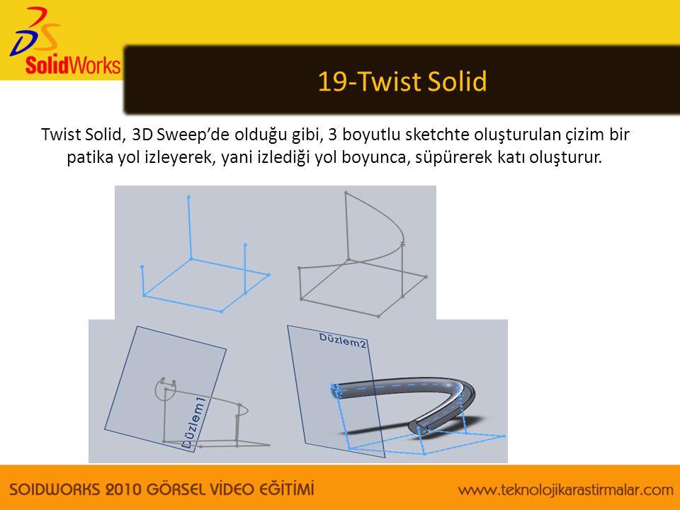 19-Twist Solid Twist Solid, 3D Sweep'de olduğu gibi, 3 boyutlu sketchte oluşturulan çizim bir patika yol izleyerek, yani izlediği yol boyunca, süpürer