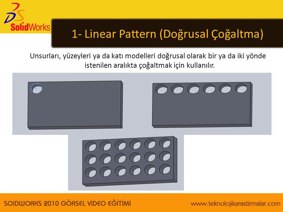 1- Linear Pattern (Doğrusal Çoğaltma) Unsurları, yüzeyleri ya da katı modelleri doğrusal olarak bir ya da iki yönde istenilen aralıkta çoğaltmak için